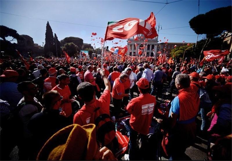تظاهرات گسترده معترضان به اصلاحات بازار کار در ایتالیا